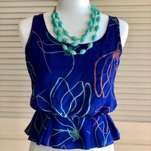 Anthropologie Sariah Silk Peplum Top